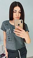 Женские футболки - 0567-1тк - Короткая женская футболка топ с карманом