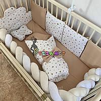 Постельный набор в детскую кроватку (7 предметов) Косичка, цвет на выбор