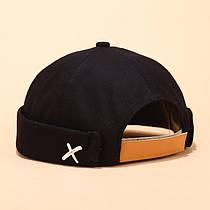 Байкерская Кепка Docker Без козырька Докер Бескозырка City-A X Xotic с кожаным ремешком Черная