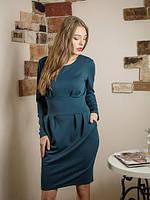 Красивое платье офисного стиля с длинным рукавом спереди карманы