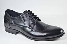 Мужские кожаные туфли полуброги черные L-Style 1269
