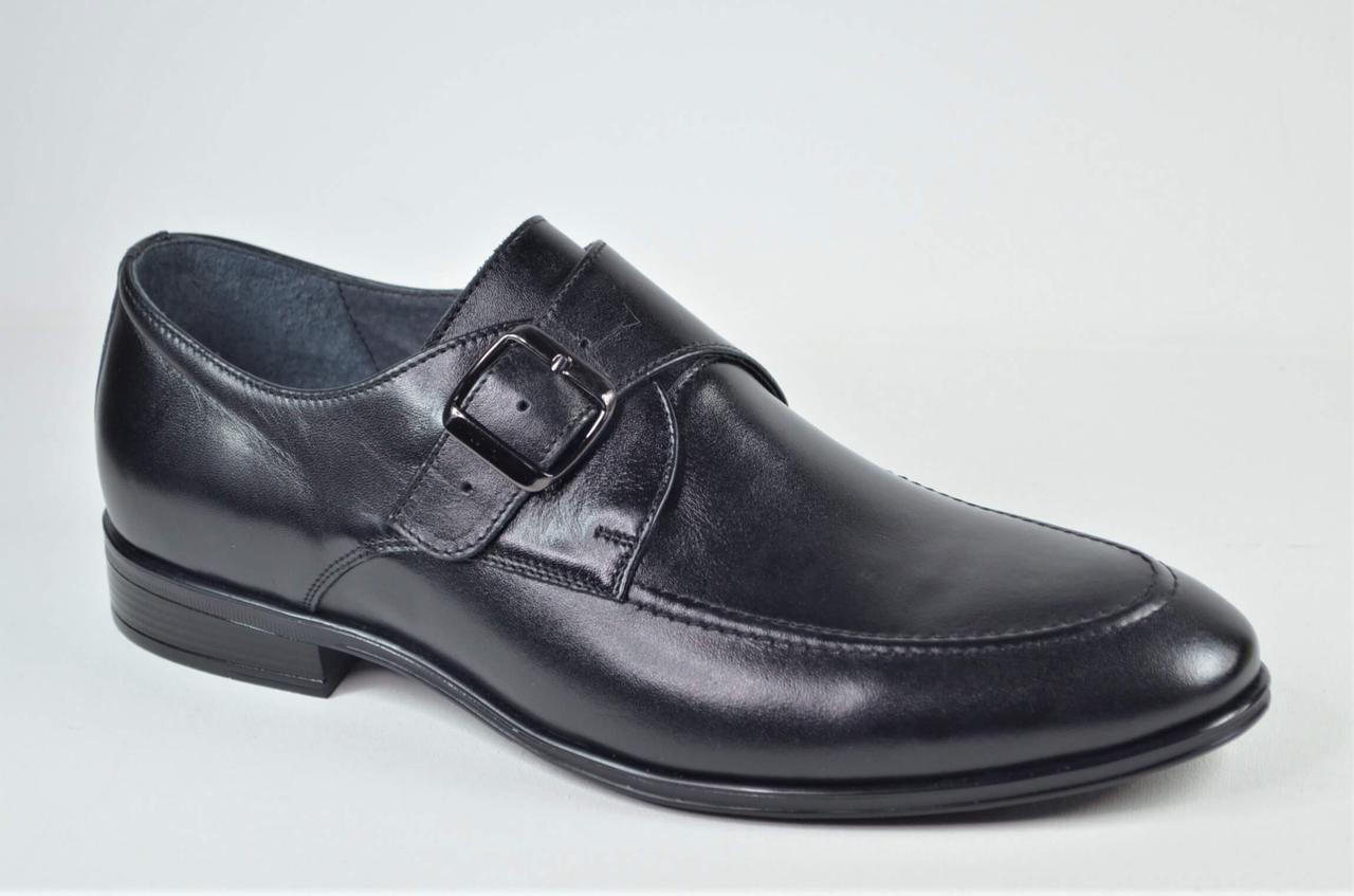 Чоловічі шкіряні туфлі монки чорні L-Style 1286