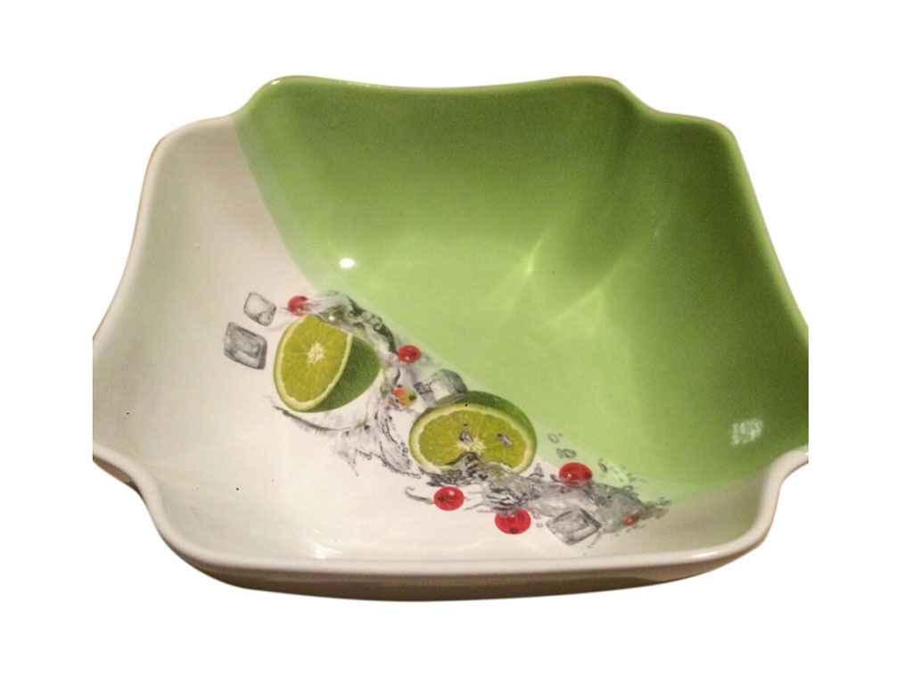 Салатник керамический Авангард Бутон бело-салатовый с деколью 1100 мл