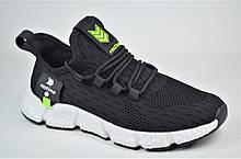 Підліткові літні кросівки сітка чорні з білим Restime 21678
