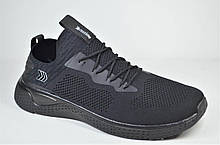 Мужские кроссовки сетка великаны черные Restime 21543