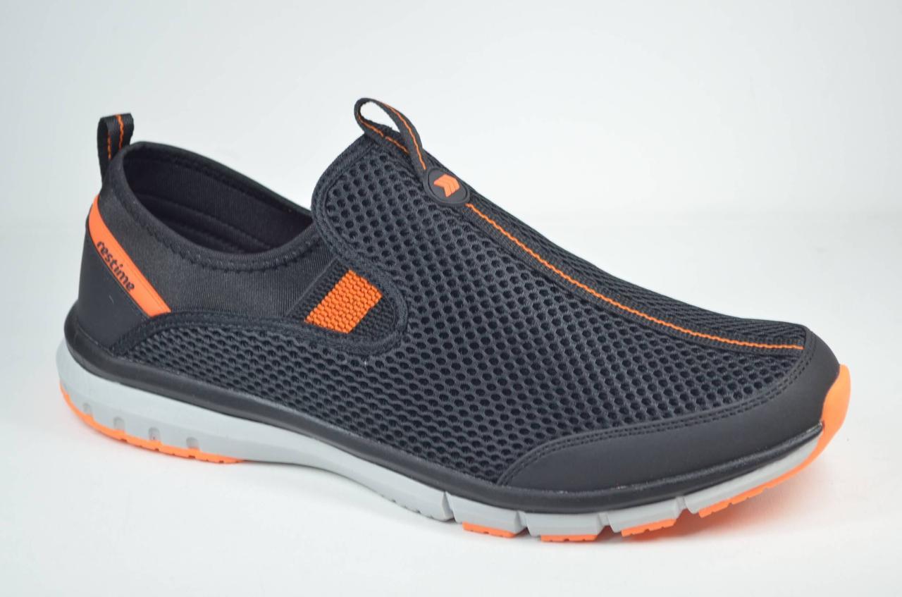 Мужские кроссовки сетка великаны черные с оранжевым Restime 21820