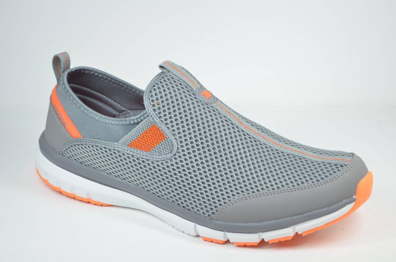 Мужские кроссовки сетка великаны серые с оранжевым Restime 21820