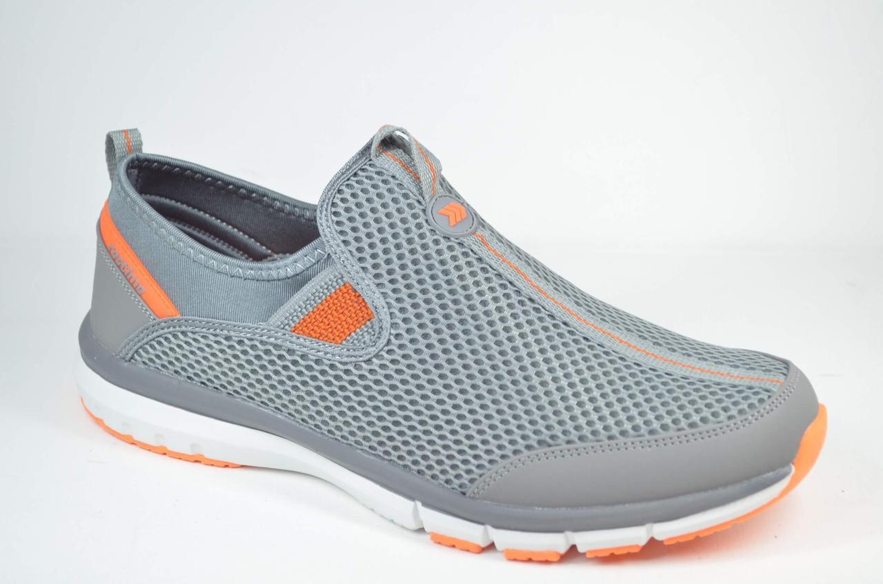 Мужские летние кроссовки сетка серые с оранжевым Restime 21820