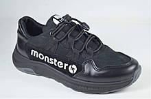 Подростковые кожаные кроссовки черные Monster ХАН