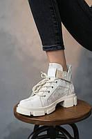 Женские ботинки кожаные весна/осень бежевые Vikont 27-56-74. Зимние сапоги, кроссовки. Женская обувь
