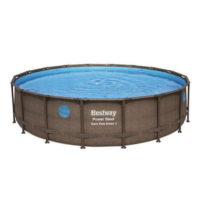 Каркасный бассейн Bestway Ротанг 56977 (549х122) с картриджным фильтром, Круглая, 549х122