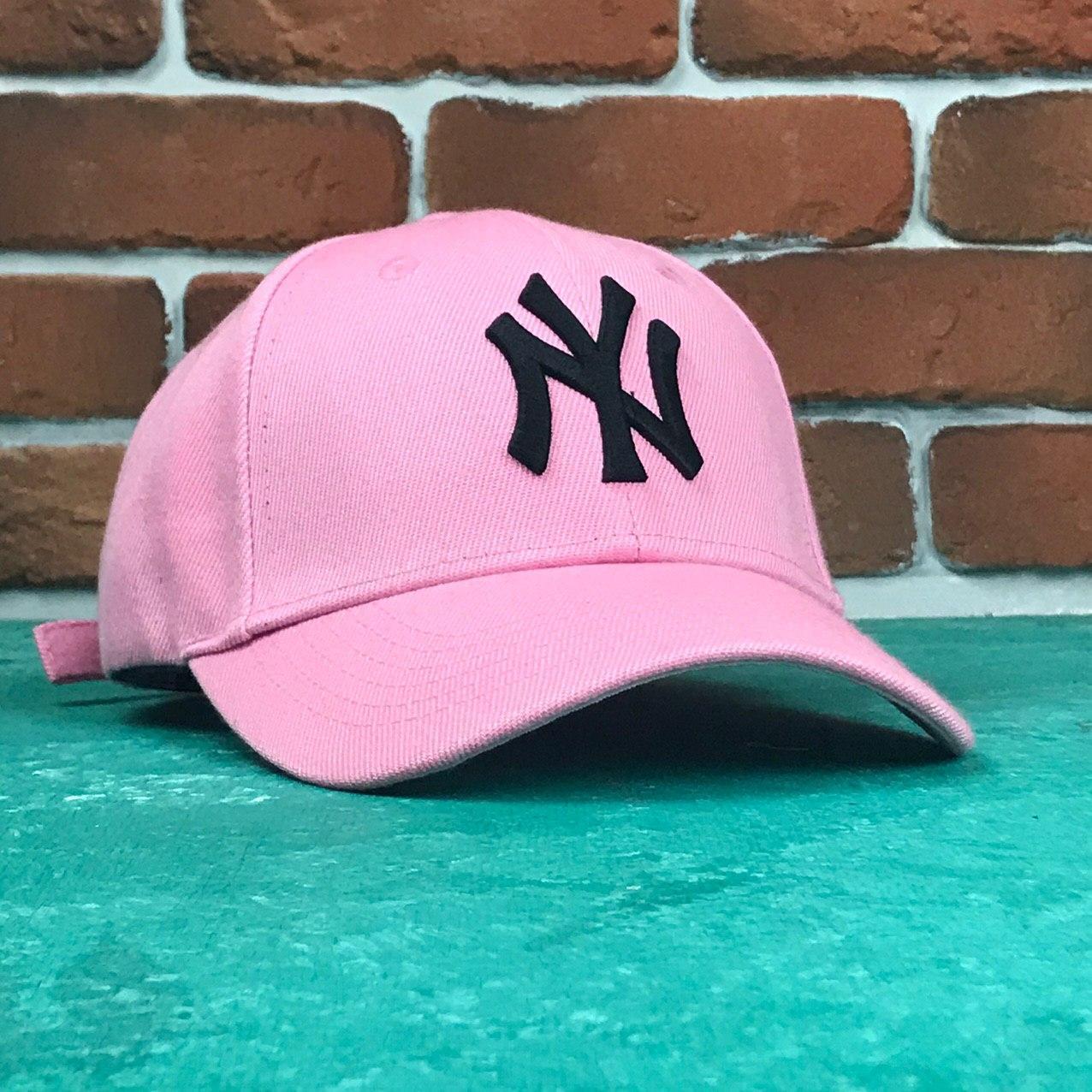 Кепка Бейсболка Чоловіча Жіноча MLB New York Yankees NY Рожева з Чорним лого