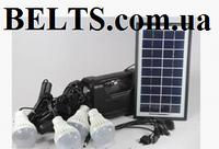 Аккумулятор с фонарем GD-8038 на солнечной батареи (солнечная система с 4 лампами и переходниками 8038)