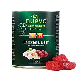 Корм консерва Nuevo Junoir для цуценят курка,яловичина та рис з додаванням кальцiю 800 г