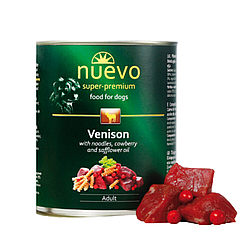 Корм консерва Nuevo Adult для дорослих собак з олениною, брусницею, сафлоровою олiєю 400 г