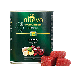 Корм консерва Nuevo Adult для дорослих собак з ягням та картоплею 800 г