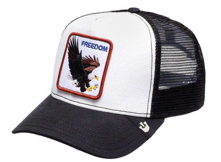 Кепка Бейсболка Тракер с сеткой Goorin Brothers Animal Farm Freedom с Орлом Черно-белая