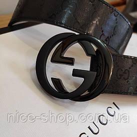 Ремінь Gucci шкіряний 3,8 см чорний з чорною матовою пряжкою в коробці