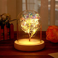 Роза в колбе 24К Lesko KY-1645 с LED подсветкой Теплый свет светящаяся подарок для девушки