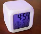 Годинник хамелеон, з будильником і термометром, що міняють колір, фото 2