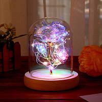 Роза в колбе 24К Lesko KY-1645 с LED подсветкой Цветной свет светящаяся подарок для девушки
