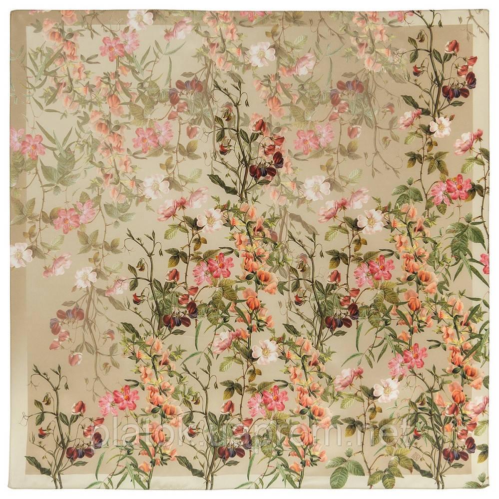 10958-2, павлопосадский платок шелковый (крепдешиновый) с подрубкой