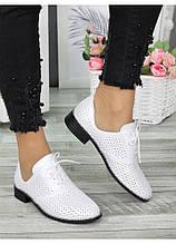 Жіночі туфлі шкіряні молочного кольору (літо) Евелін 7301-28