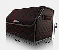 Органайзер в багажник автомобиля Chevrolet от Carbag Чёрный c красной строчкой и чёрной окантовкой