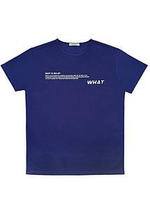 Мужская футболка Doomilai 100% хлопок (синяя) Арт.1861-С