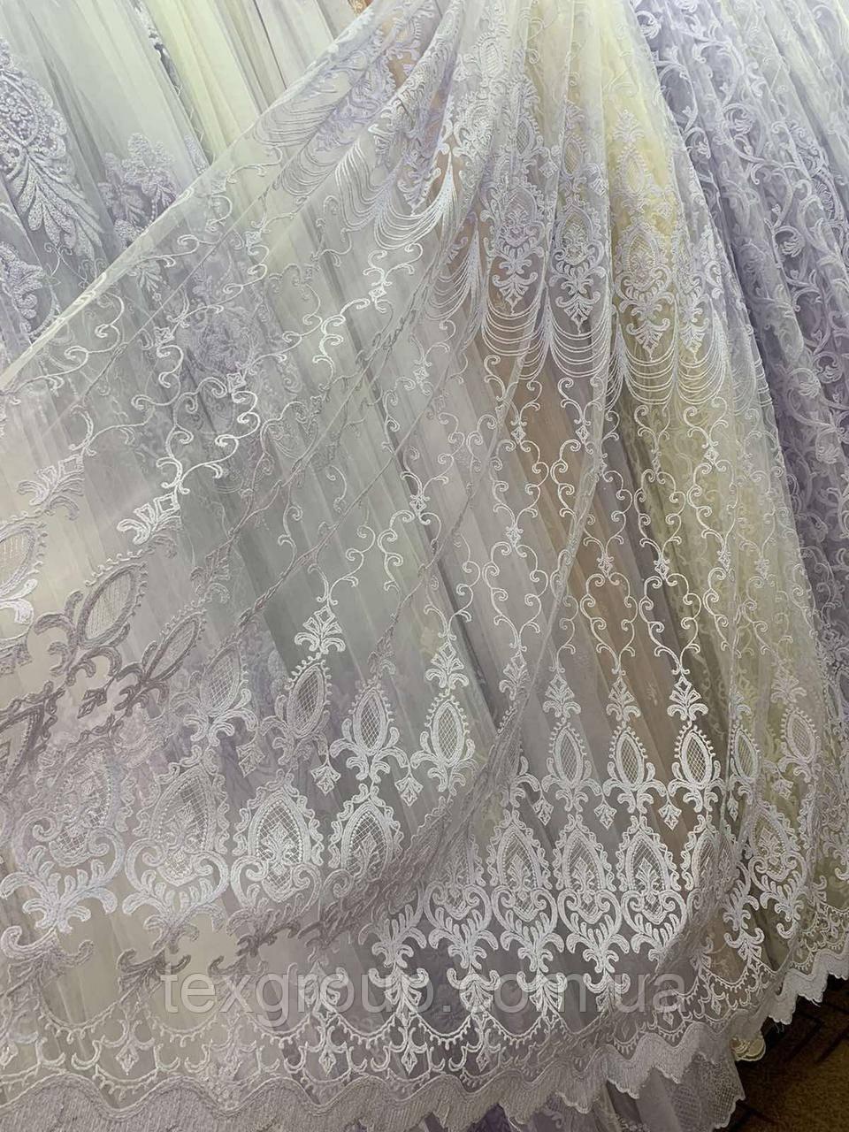 Шикарный фатиновый тюль 116034 белого цвета
