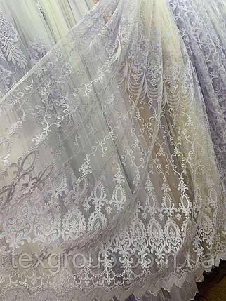 Шикарный фатиновый тюль 116034 белого цвета, фото 2