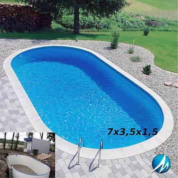 Строительство сборного бассейна 7х3,5х1,5 м