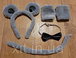 Ушки и хвостик Мышонка Ободок ушки мышка. Обруч на голову ушки Мышонок