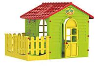 Детский игровой домик Mochtoys 10839 пластиковый садовый столик стульчик с террасой для детей для дома дачи