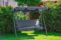 Садовая качеля Avko Relax Grey большая трехместная садовая качель с навесом подвесная для отдыха дома Серая