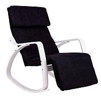 Кресло качалка GoodHome 03 WHITE 120 кг для дома и дачи Черная Крісло Гойдалка