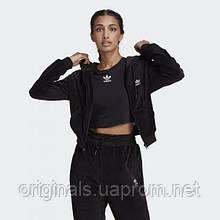 Велюровая толстовка adidas LOUNGEWEAR Cropped Full Zip H18827 2021