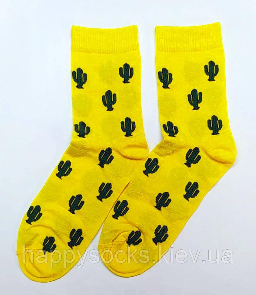 Хлопковые носки желтого цвета в кактусы 41-43р
