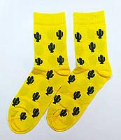 Хлопковые носки желтого цвета в кактусы 41-43р, фото 1