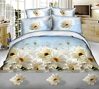 Комплект полуторного постельного белья «Белая хризантема» 145х215 из полиэстера