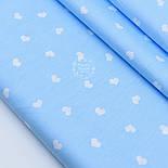"""Клапоть сатину """"Фігурні сердечка 14 мм"""" на блакитному № 1773с, розмір 42*80 см, фото 2"""
