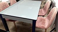 Раскладной обеденный стол-трансформер на кухню со стеклом САН-РЕМО / БИФОРМЕР, фото 1