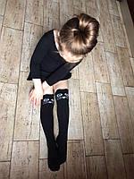 Дитячі заколінки бавовняні вище коліна з котиком, фото 1