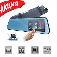 Автомобильный видеорегистратор зеркало дисплей DVR 1031, Авто двухкамерный регистратор в машину Full HD 1080p