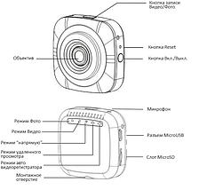 Автомобильный видеорегистратор Full HD Sycloud DVR для авто WiFi IP регистратор в машину с записью 1080, фото 3