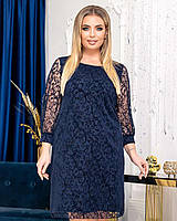 Новинка! Ошатна, гарна сукня, батал, арт А5051, колір синій