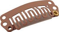 Клипсы для волос с силиконовой вставкой HC-06 ,коричневые