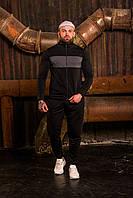Спортивный костюм мужской весенний осенний качественный стильный модный черный, фото 1