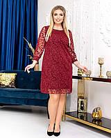 Новинка! Ошатна, гарна сукня, батал, арт А5051, колір бордо