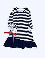 """Платье детское, """"Морячка"""", кулир, для ваших конфеток, на рост от 80 до 116 см роста"""
